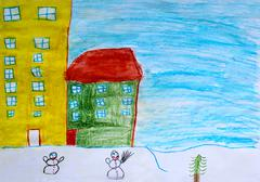 Children's drawing of houses and snowmen Stock Photos