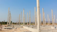 Pillar in Building Construction Site (pan shot) Stock Footage