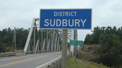 Sudbury district sign. French River, Ontario, Canada. Stock Footage