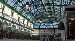 Shopping arcade victorian decorative cast iron roof architecture Stock Footage