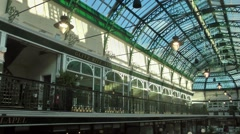 Shopping arcade victorian decorative cast iron roof Stock Footage