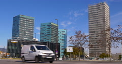 Barcelona day time office block panorama 4k spain Stock Footage