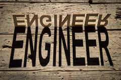 Wooden letters build the word engineer - stock photo