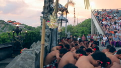 A lot of people are sitting in ritual dance Stock Footage