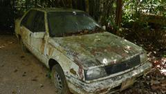 Abandoned old car in the jungle Stock Footage