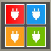 Wire, socket and electric plug vector design - stock illustration