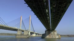 Martinus Nijhofbrug, the cable-stayed bridge over river Waal, near Zaltbommel - stock footage