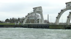 Lock and weir in the river Nederrijn called sluice Hagestein - stock footage