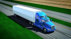Truck driving on the highway - seamless loop Stock Footage