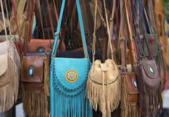 Leather bags for sale in Thailand Stock Photos
