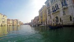 4K view to Grande Canal from vaporetto water bus in Venice Italy Stock Footage
