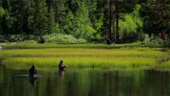 2 men fly fishing in the Sierra Mountains Stock Footage