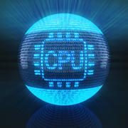 CPU symbol on globe formed by binary code Stock Illustration