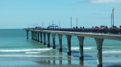 Pier in Christchurch, New Zealand Stock Footage