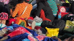 Passengers on the deck of the slow boat to Bhamo,Irrawaddy,Burma - stock footage