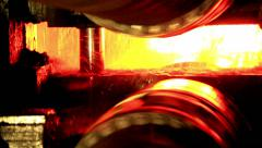 Industry steel, Big spindles, Hot slab are rolling in Mill. Stock Footage