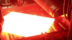 Industry steel, Hot slab are rolling in mill, Milling hot slab. Stock Footage