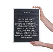 Copyright concept in plastic letters on very old menu board - stock photo