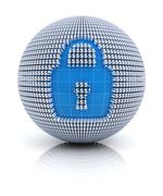 Security icon on globe formed by dollar sign, 3d render Stock Illustration
