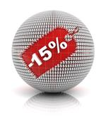 15 percent off sale tag on a sphere - stock illustration