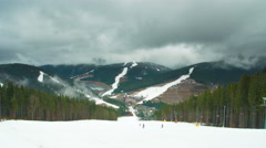 The mountain ski resort time lapse - foggy cyclone weather - stock footage