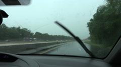 Car Windsheild Wiper On Rainy Day Stock Footage