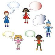 children with talk bubbles - stock illustration