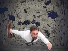 Businessman swallowed from instability - stock illustration