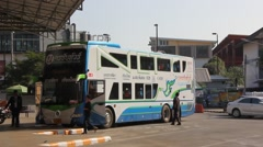 Bus of Nakhonchai tour company Stock Footage