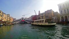 4K POV of Grande Canal tour with Rialto bridge at background in Venice Italy Stock Footage