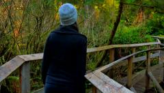 4K Forest Hike, Woman Walks Along Wooden Trail Path Stock Footage