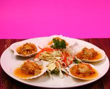 baked shellfish - stock photo