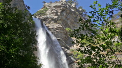 Uchan-su falls on the mountain Ah-Petri in the Crimea after a heavy rain - stock footage