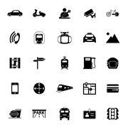 Stock Illustration of Land transport related icons on white background