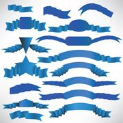 Stock Illustration of Blue ribbons with a stripe.