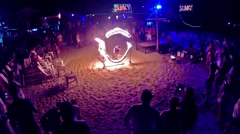 Phi Phi Island, Thailand. April 2014 . Young people jumping ring of fire Stock Footage