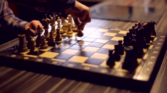 Two men play chess Stock Footage