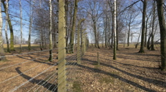 The barbed wire fence at Auschwitz-Birkenau Stock Footage