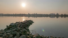 Sunset over river cost.4K (4096x2304)   Time lapse without birds, RAW output Stock Footage