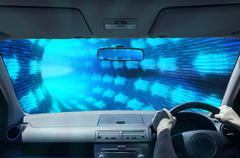 Driving in a digital tunnel Stock Illustration