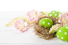 Easter Eggs with Nest - stock photo