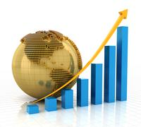 Rising chart with golden globe Stock Illustration