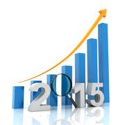 2015 growth chart with magnifying glass, 3d render Stock Illustration