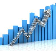 Growth chart with upward arrow formed by numbers - stock illustration