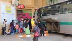 Passenger of Bus  at Chiangmai bus station, thailand. Stock Footage