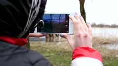 Making photo picture with smart phone on nature Stock Footage