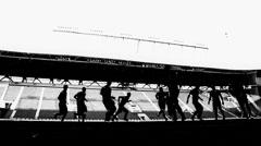 Training football team Stock Footage