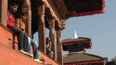 People enjoying the view on Durbar square,Kathmandu,Nepal Stock Footage