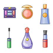 Set of Flat Beauty and Makeup Icons - stock illustration