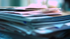 Stack of paper Stock Footage